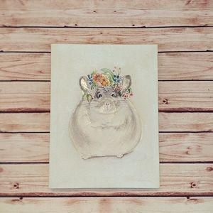 Other - Chubby chinchilla flower wall art